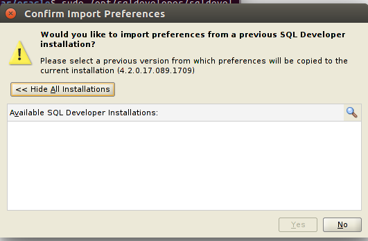sql developer pop window during installation