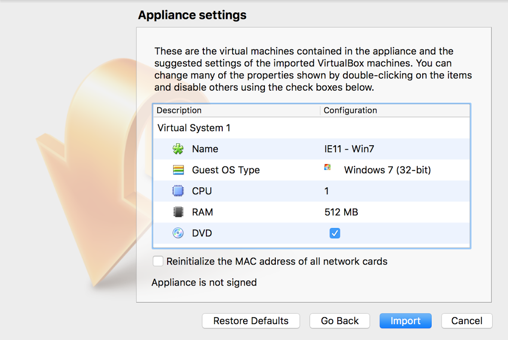 appliance settings in virtual box