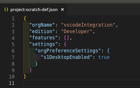 Vscode json for salesforce